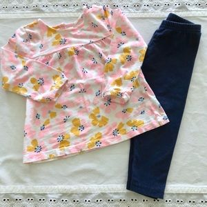Carter's Outfit Floral Top Navy Bottom